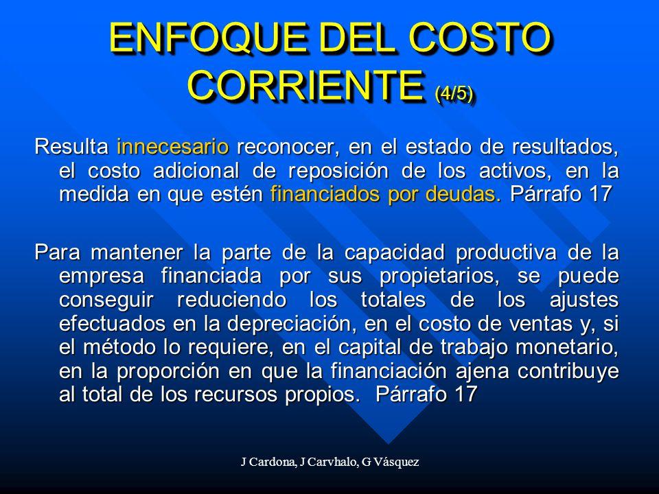 J Cardona, J Carvhalo, G Vásquez Resulta innecesario reconocer, en el estado de resultados, el costo adicional de reposición de los activos, en la med