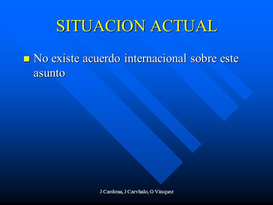 J Cardona, J Carvhalo, G Vásquez SITUACION ACTUAL No existe acuerdo internacional sobre este asunto No existe acuerdo internacional sobre este asunto