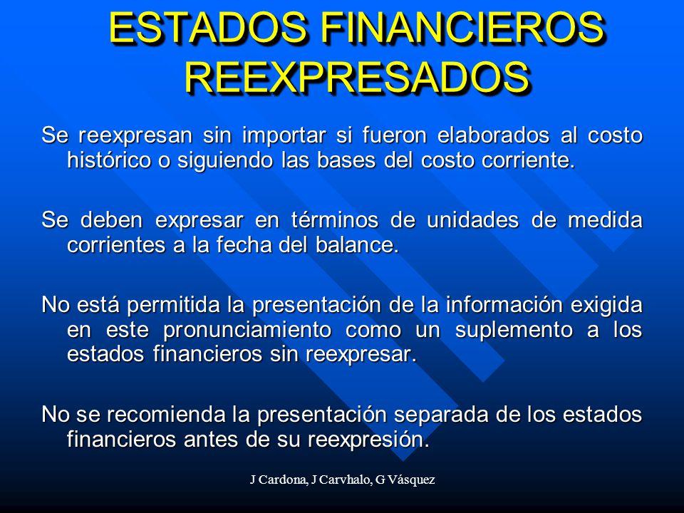J Cardona, J Carvhalo, G Vásquez ESTADOS FINANCIEROS REEXPRESADOS Se reexpresan sin importar si fueron elaborados al costo histórico o siguiendo las b