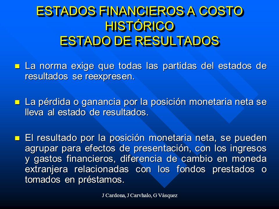 J Cardona, J Carvhalo, G Vásquez ESTADOS FINANCIEROS A COSTO HISTÓRICO ESTADO DE RESULTADOS La norma exige que todas las partidas del estados de resul