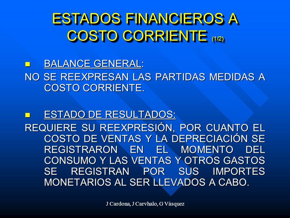 J Cardona, J Carvhalo, G Vásquez ESTADOS FINANCIEROS A COSTO CORRIENTE (1/2) BALANCE GENERAL: BALANCE GENERAL: NO SE REEXPRESAN LAS PARTIDAS MEDIDAS A