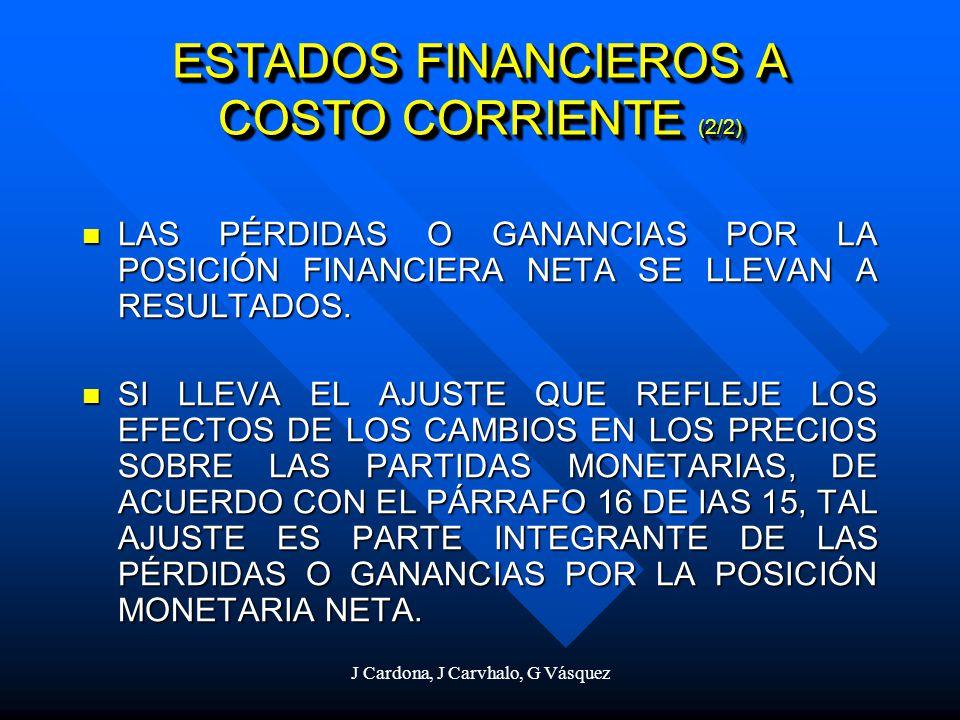 J Cardona, J Carvhalo, G Vásquez ESTADOS FINANCIEROS A COSTO CORRIENTE (2/2) LAS PÉRDIDAS O GANANCIAS POR LA POSICIÓN FINANCIERA NETA SE LLEVAN A RESU