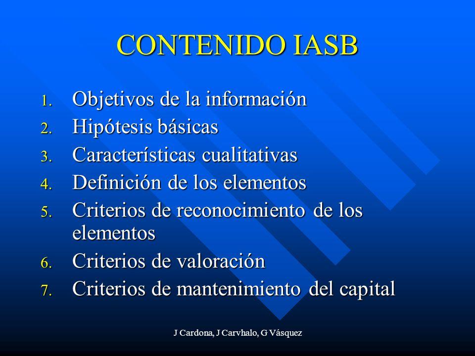 J Cardona, J Carvhalo, G Vásquez CONTENIDO IASB 1. Objetivos de la información 2. Hipótesis básicas 3. Características cualitativas 4. Definición de l