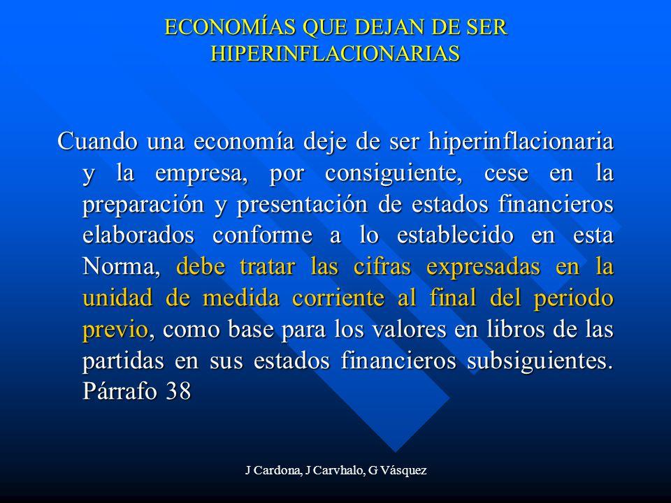 J Cardona, J Carvhalo, G Vásquez ECONOMÍAS QUE DEJAN DE SER HIPERINFLACIONARIAS Cuando una economía deje de ser hiperinflacionaria y la empresa, por c
