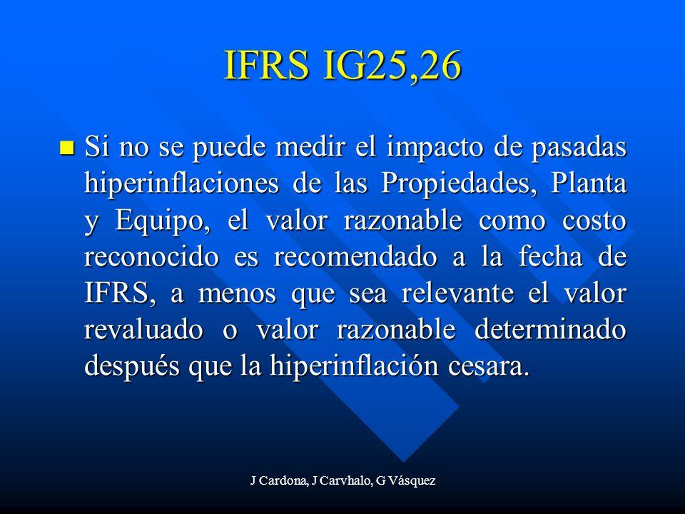 J Cardona, J Carvhalo, G Vásquez IFRS IG25,26 Si no se puede medir el impacto de pasadas hiperinflaciones de las Propiedades, Planta y Equipo, el valo