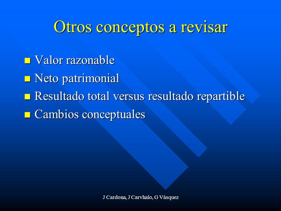 J Cardona, J Carvhalo, G Vásquez Otros conceptos a revisar Valor razonable Valor razonable Neto patrimonial Neto patrimonial Resultado total versus re