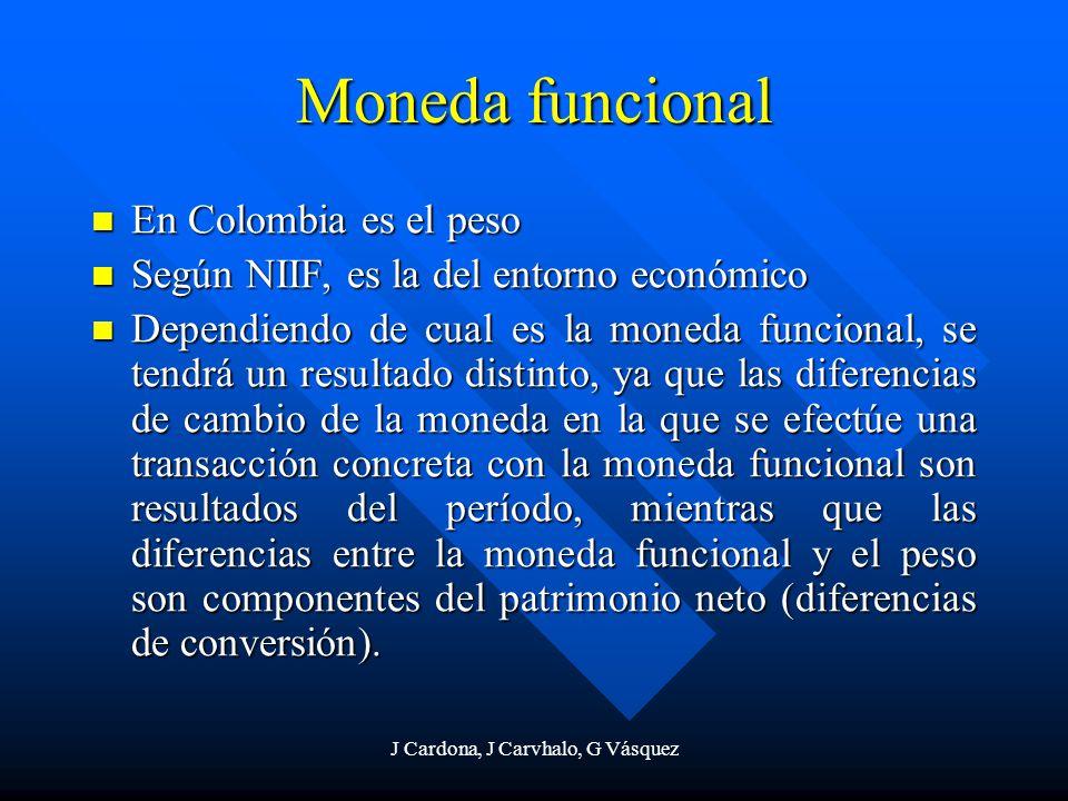 J Cardona, J Carvhalo, G Vásquez Moneda funcional En Colombia es el peso En Colombia es el peso Según NIIF, es la del entorno económico Según NIIF, es