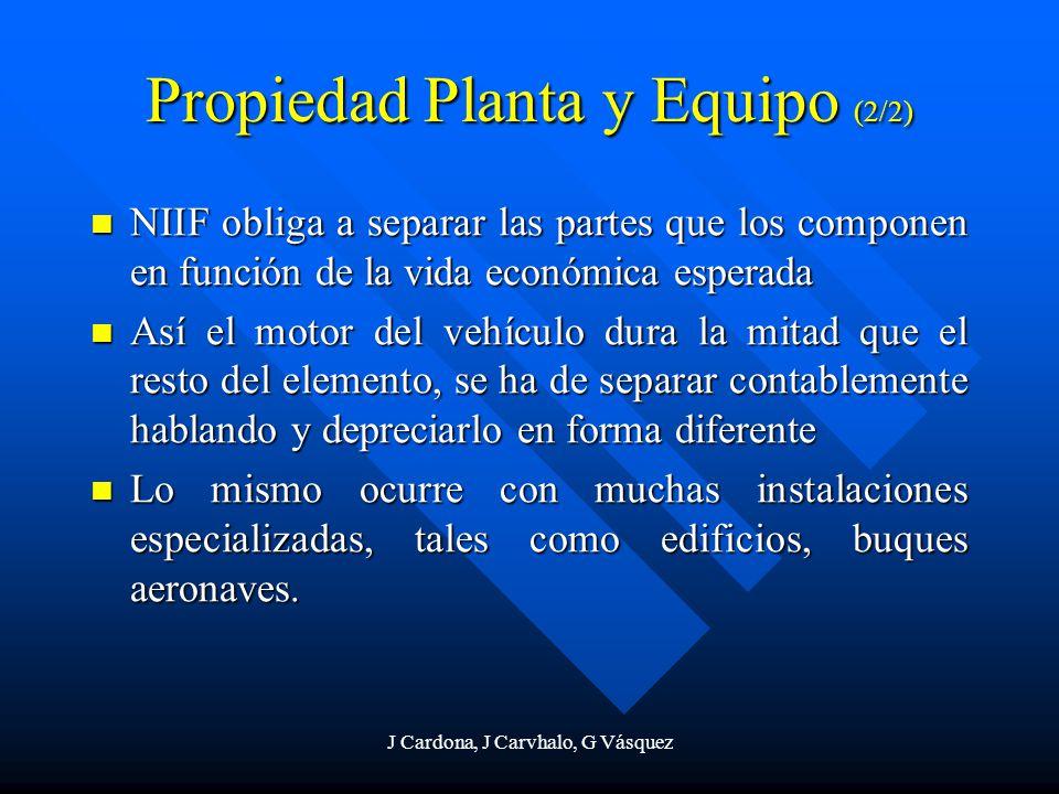 J Cardona, J Carvhalo, G Vásquez Propiedad Planta y Equipo (2/2) NIIF obliga a separar las partes que los componen en función de la vida económica esp