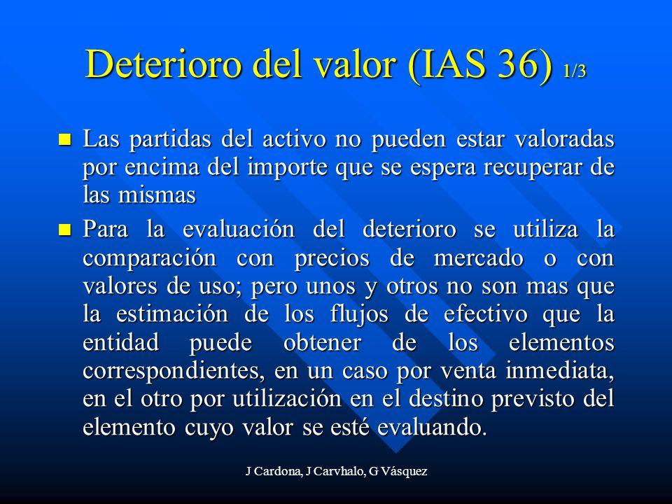 J Cardona, J Carvhalo, G Vásquez Deterioro del valor (IAS 36) 1/3 Las partidas del activo no pueden estar valoradas por encima del importe que se espe