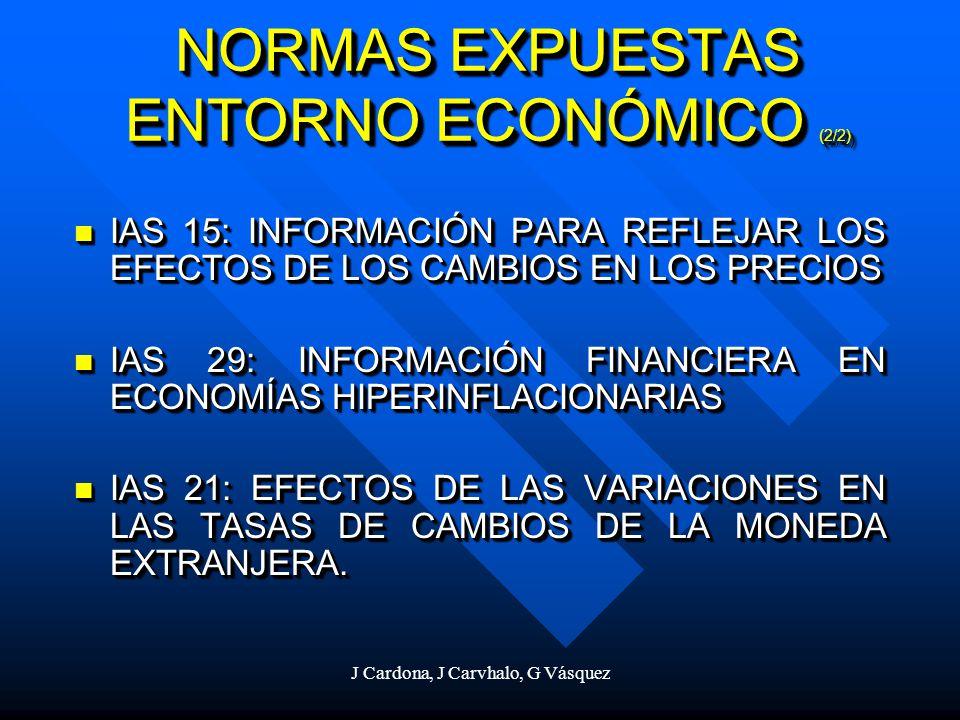 J Cardona, J Carvhalo, G Vásquez NORMAS EXPUESTAS ENTORNO ECONÓMICO (2/2) IAS 15: INFORMACIÓN PARA REFLEJAR LOS EFECTOS DE LOS CAMBIOS EN LOS PRECIOS