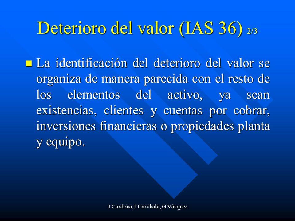 J Cardona, J Carvhalo, G Vásquez La ídentificación del deterioro del valor se organiza de manera parecida con el resto de los elementos del activo, ya