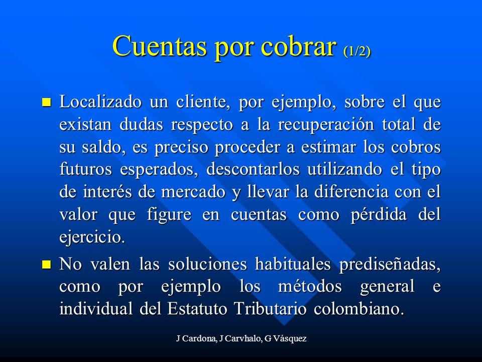 J Cardona, J Carvhalo, G Vásquez Cuentas por cobrar (1/2) Localizado un cliente, por ejemplo, sobre el que existan dudas respecto a la recuperación to