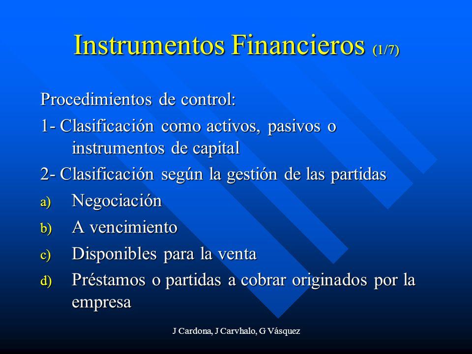 J Cardona, J Carvhalo, G Vásquez Instrumentos Financieros (1/7) Procedimientos de control: 1- Clasificación como activos, pasivos o instrumentos de ca