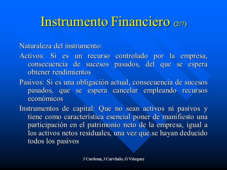 J Cardona, J Carvhalo, G Vásquez Instrumento Financiero (2/7) Naturaleza del instrumento: Activos: Si es un recurso controlado por la empresa, consecu