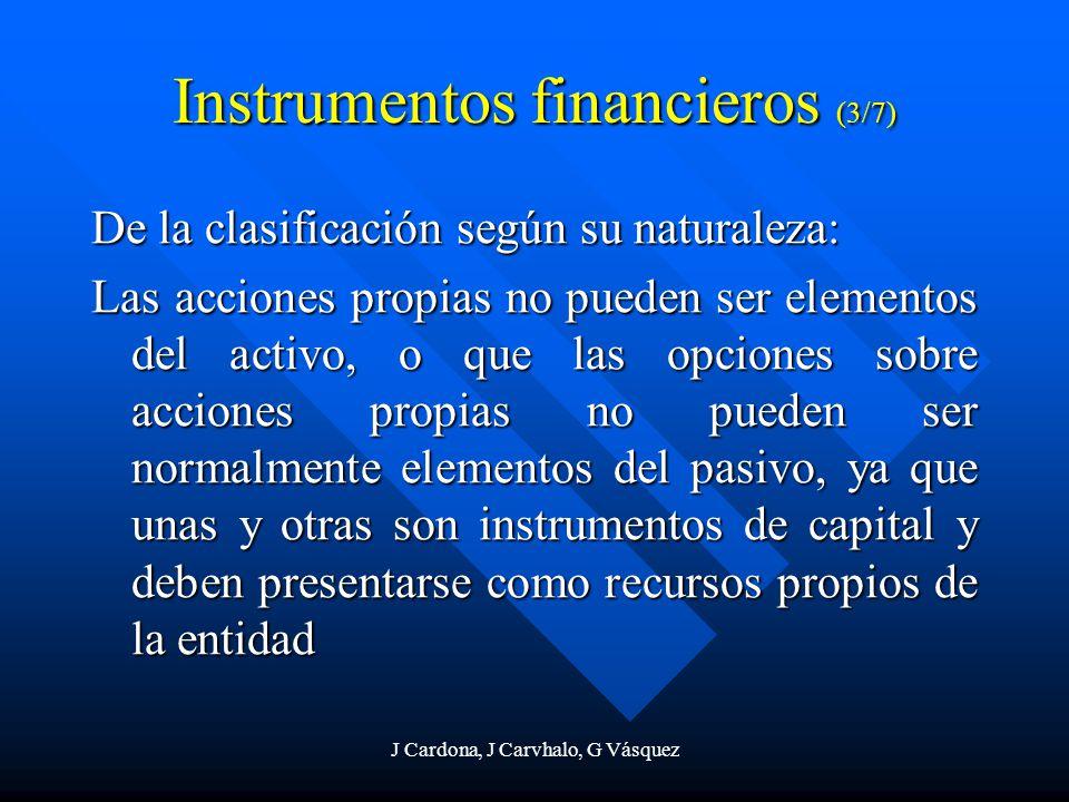 J Cardona, J Carvhalo, G Vásquez Instrumentos financieros (3/7) De la clasificación según su naturaleza: Las acciones propias no pueden ser elementos