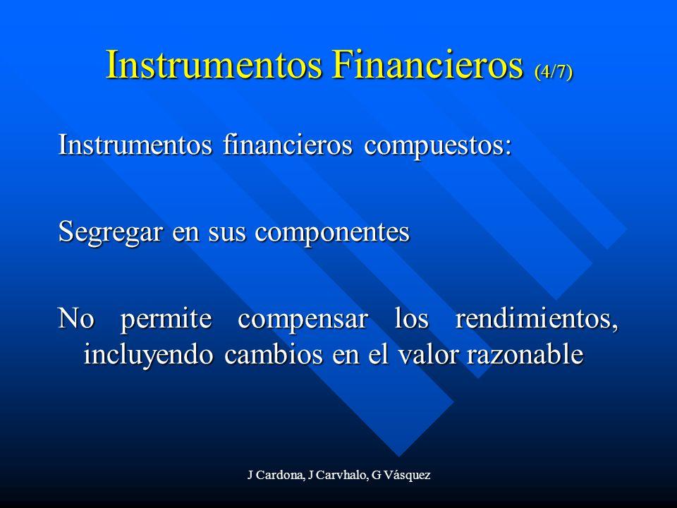 J Cardona, J Carvhalo, G Vásquez Instrumentos Financieros (4/7) Instrumentos financieros compuestos: Segregar en sus componentes No permite compensar
