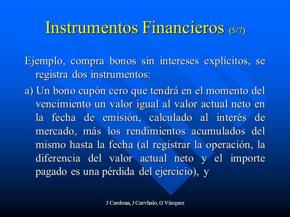 J Cardona, J Carvhalo, G Vásquez Instrumentos Financieros (5/7) Ejemplo, compra bonos sin intereses explícitos, se registra dos instrumentos: a) Un bo
