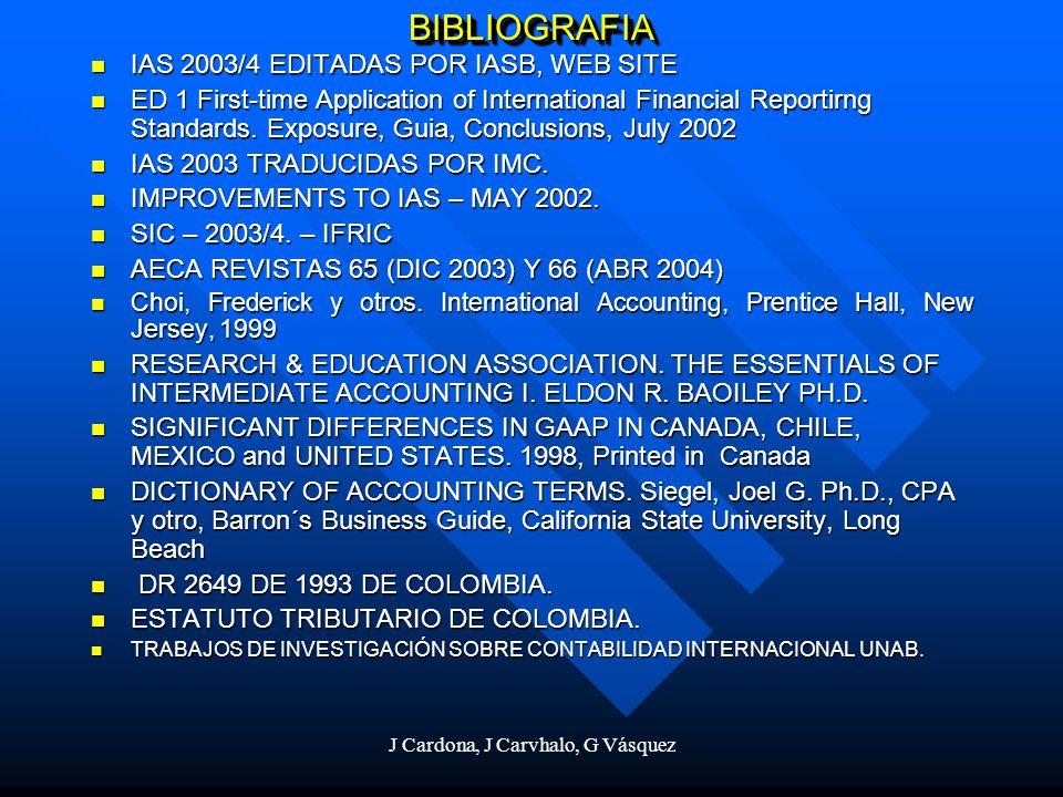 J Cardona, J Carvhalo, G Vásquez BIBLIOGRAFIABIBLIOGRAFIA IAS 2003/4 EDITADAS POR IASB, WEB SITE IAS 2003/4 EDITADAS POR IASB, WEB SITE ED 1 First-tim