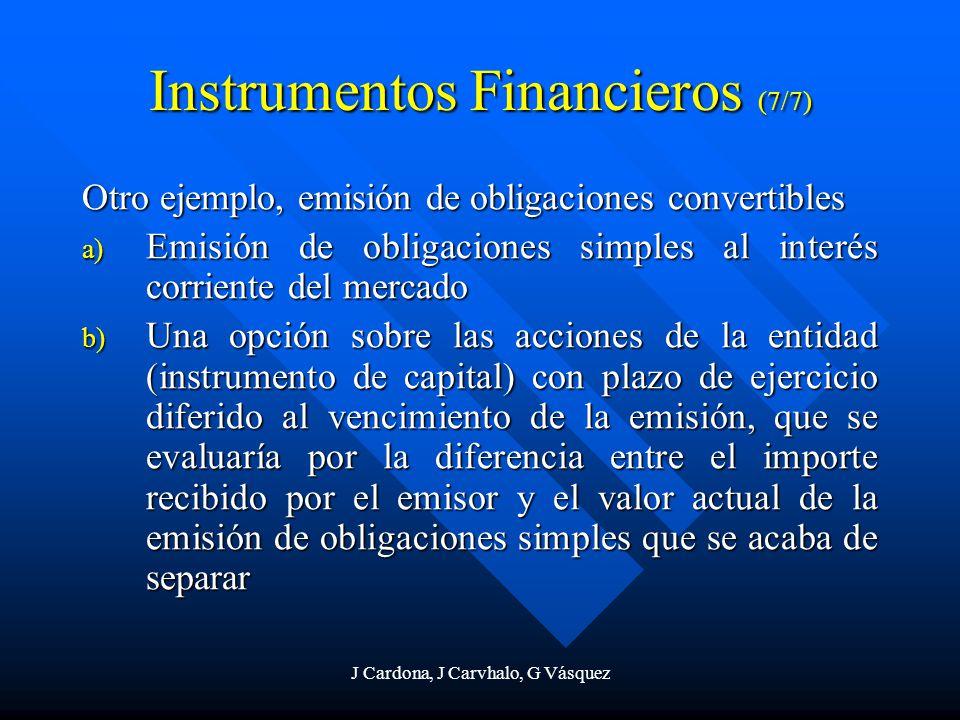J Cardona, J Carvhalo, G Vásquez Instrumentos Financieros (7/7) Otro ejemplo, emisión de obligaciones convertibles a) Emisión de obligaciones simples