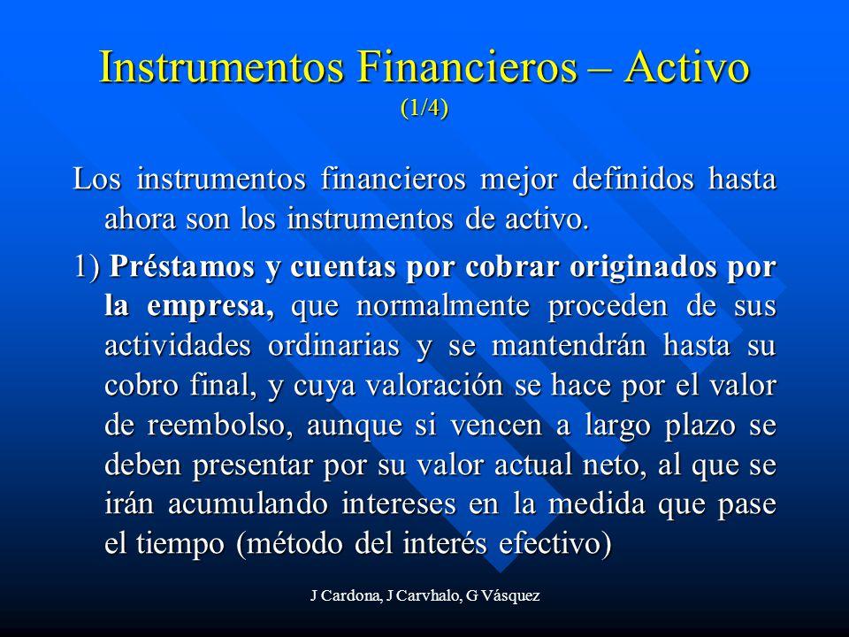 J Cardona, J Carvhalo, G Vásquez Instrumentos Financieros – Activo (1/4) Los instrumentos financieros mejor definidos hasta ahora son los instrumentos