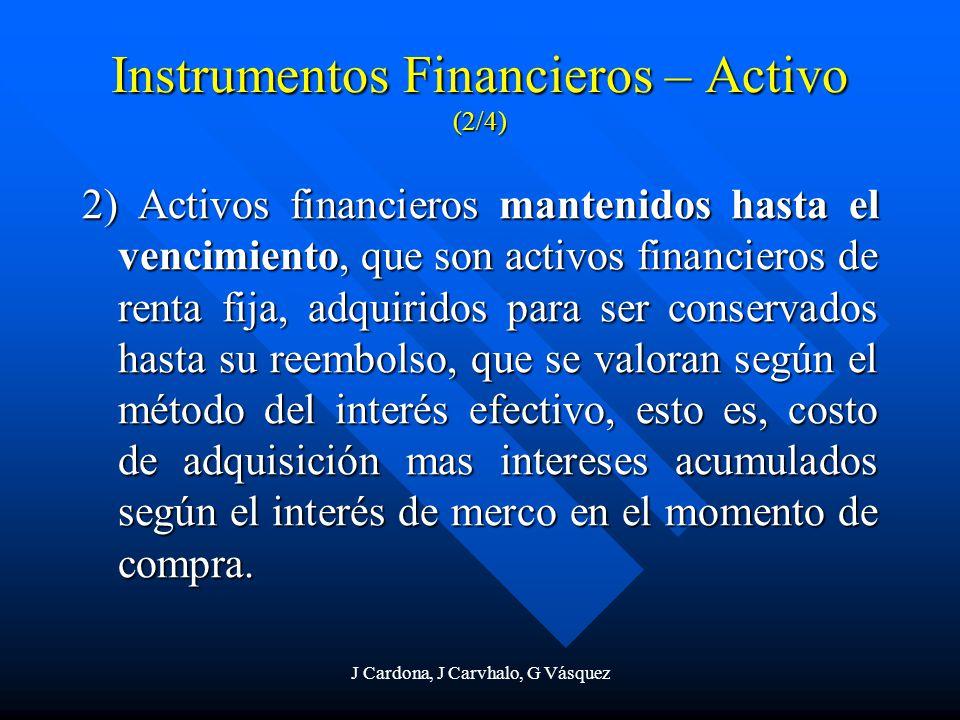 J Cardona, J Carvhalo, G Vásquez 2) Activos financieros mantenidos hasta el vencimiento, que son activos financieros de renta fija, adquiridos para se