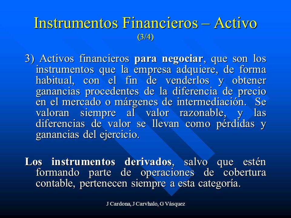 J Cardona, J Carvhalo, G Vásquez 3) Activos financieros para negociar, que son los instrumentos que la empresa adquiere, de forma habitual, con el fin