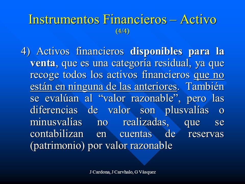 J Cardona, J Carvhalo, G Vásquez 4) Activos financieros disponibles para la venta, que es una categoría residual, ya que recoge todos los activos fina