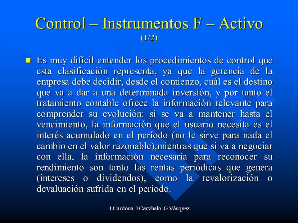 J Cardona, J Carvhalo, G Vásquez Control – Instrumentos F – Activo (1/2) Es muy difícil entender los procedimientos de control que esta clasificación