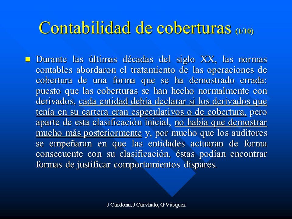 J Cardona, J Carvhalo, G Vásquez Contabilidad de coberturas (1/10) Durante las últimas décadas del siglo XX, las normas contables abordaron el tratami