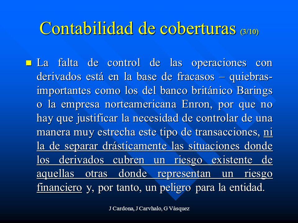 J Cardona, J Carvhalo, G Vásquez Contabilidad de coberturas (3/10) La falta de control de las operaciones con derivados está en la base de fracasos –