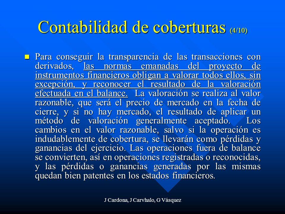 J Cardona, J Carvhalo, G Vásquez Contabilidad de coberturas (4/10) Para conseguir la transparencia de las transacciones con derivados, las normas eman