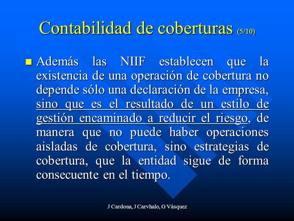 J Cardona, J Carvhalo, G Vásquez Contabilidad de coberturas (5/10) Además las NIIF establecen que la existencia de una operación de cobertura no depen