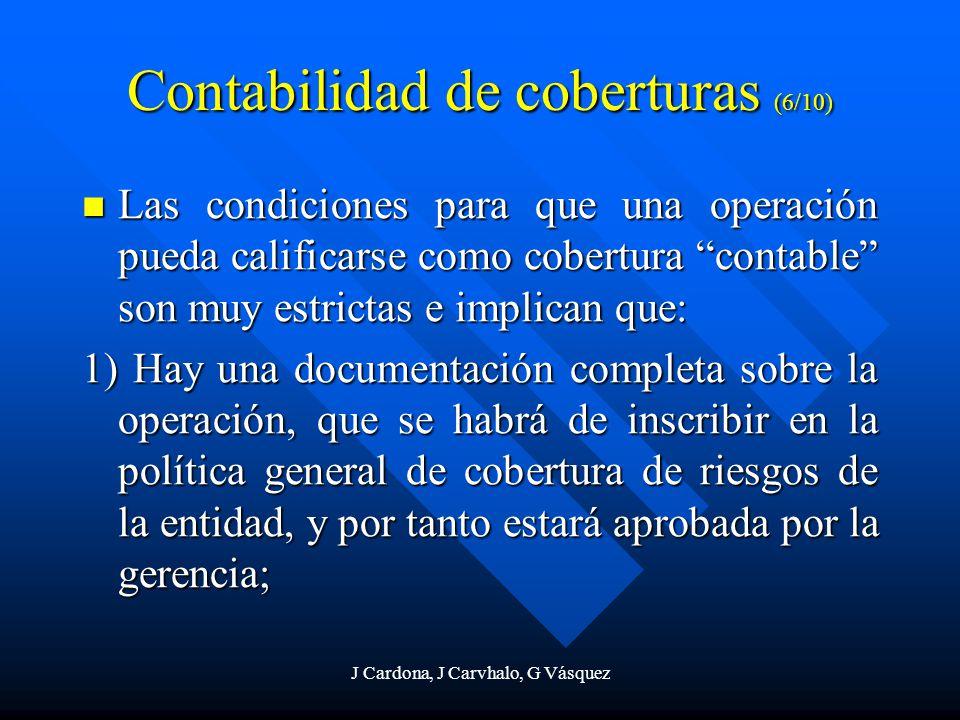J Cardona, J Carvhalo, G Vásquez Contabilidad de coberturas (6/10) Las condiciones para que una operación pueda calificarse como cobertura contable so