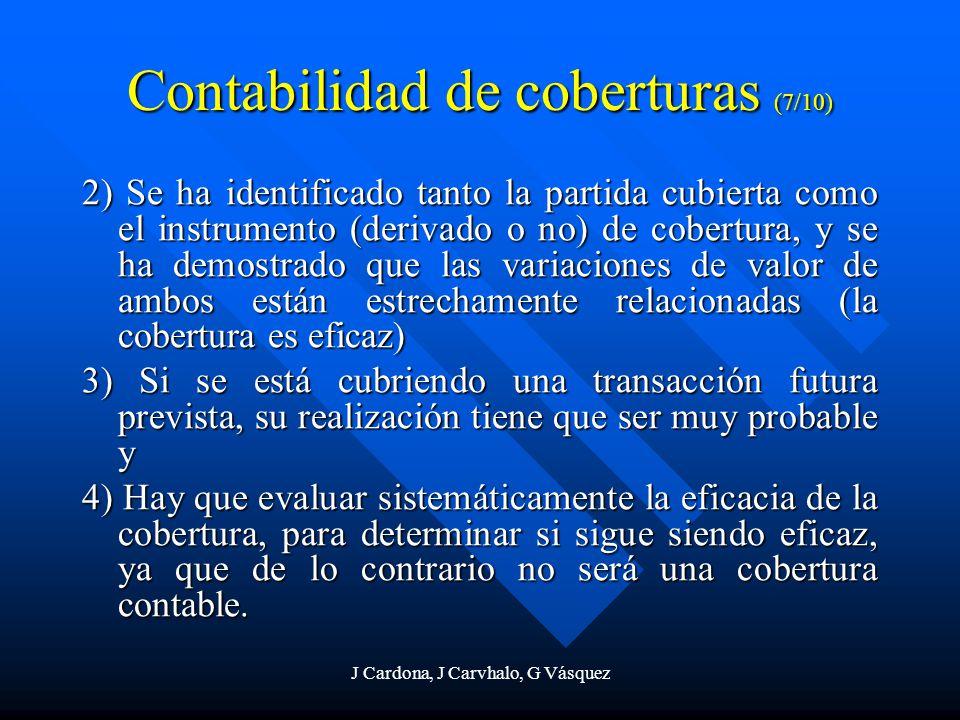 J Cardona, J Carvhalo, G Vásquez Contabilidad de coberturas (7/10) 2) Se ha identificado tanto la partida cubierta como el instrumento (derivado o no)
