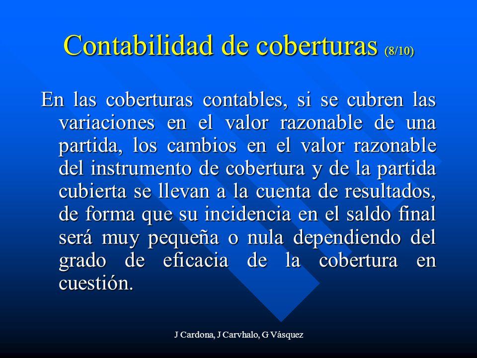J Cardona, J Carvhalo, G Vásquez Contabilidad de coberturas (8/10) En las coberturas contables, si se cubren las variaciones en el valor razonable de