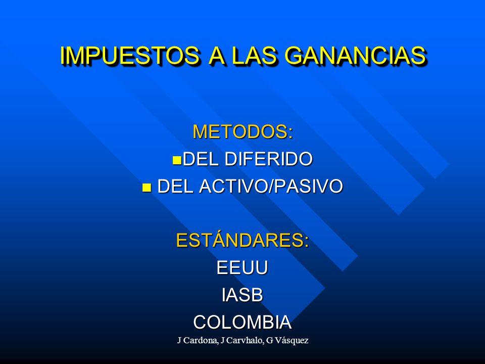 J Cardona, J Carvhalo, G Vásquez IMPUESTOS A LAS GANANCIAS METODOS: DEL DIFERIDO DEL DIFERIDO DEL ACTIVO/PASIVO DEL ACTIVO/PASIVOESTÁNDARES:EEUUIASBCO