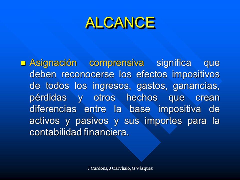 J Cardona, J Carvhalo, G Vásquez ALCANCEALCANCE Asignación comprensiva significa que deben reconocerse los efectos impositivos de todos los ingresos,