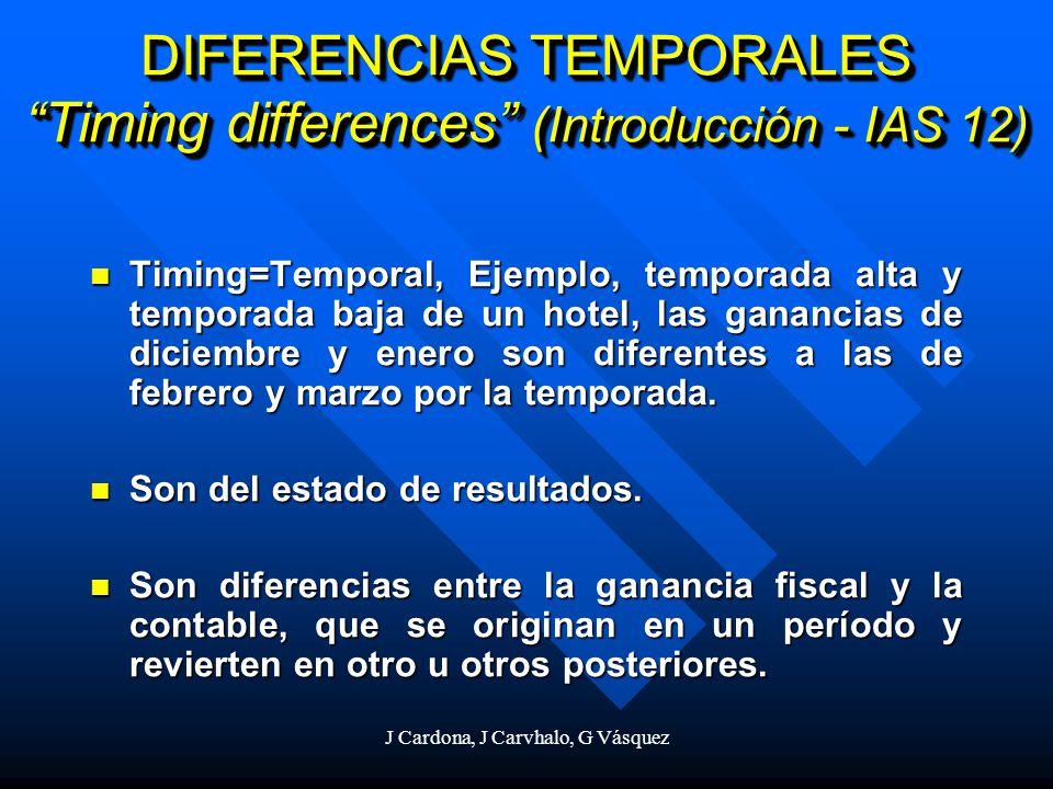 J Cardona, J Carvhalo, G Vásquez DIFERENCIAS TEMPORALES Timing differences (Introducción - IAS 12) Timing=Temporal, Ejemplo, temporada alta y temporad