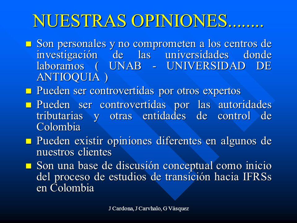 J Cardona, J Carvhalo, G Vásquez NUESTRAS OPINIONES........ Son personales y no comprometen a los centros de investigación de las universidades donde