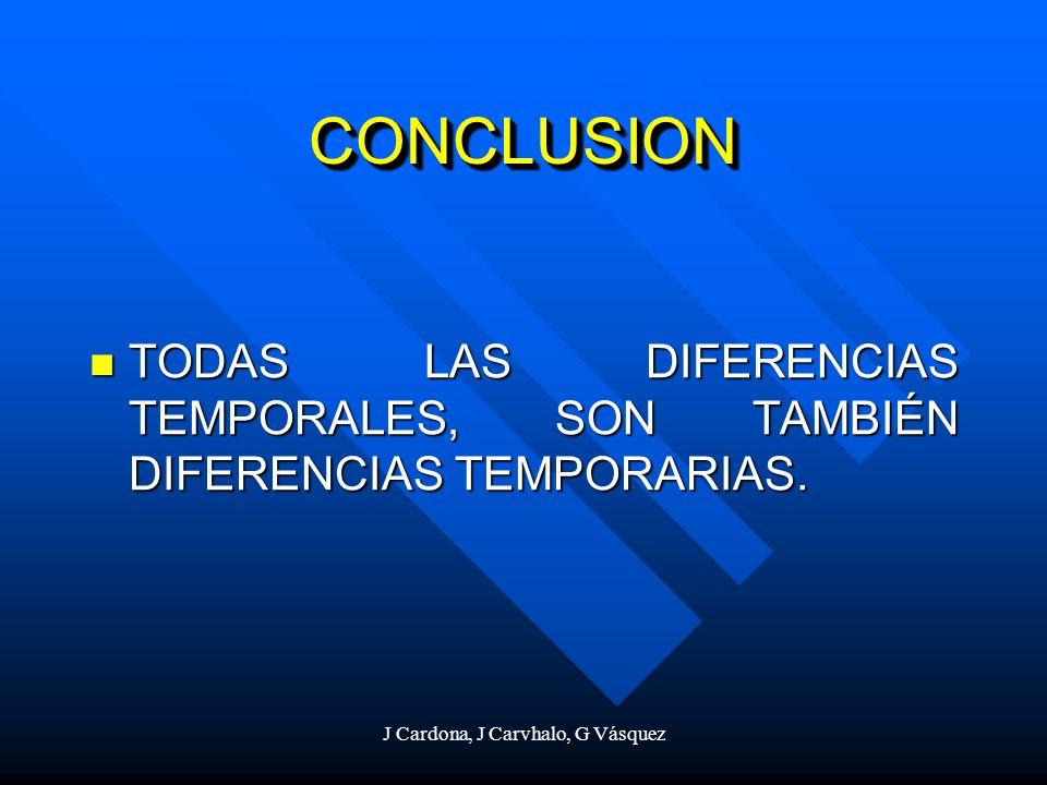 J Cardona, J Carvhalo, G Vásquez CONCLUSIONCONCLUSION TODAS LAS DIFERENCIAS TEMPORALES, SON TAMBIÉN DIFERENCIAS TEMPORARIAS. TODAS LAS DIFERENCIAS TEM