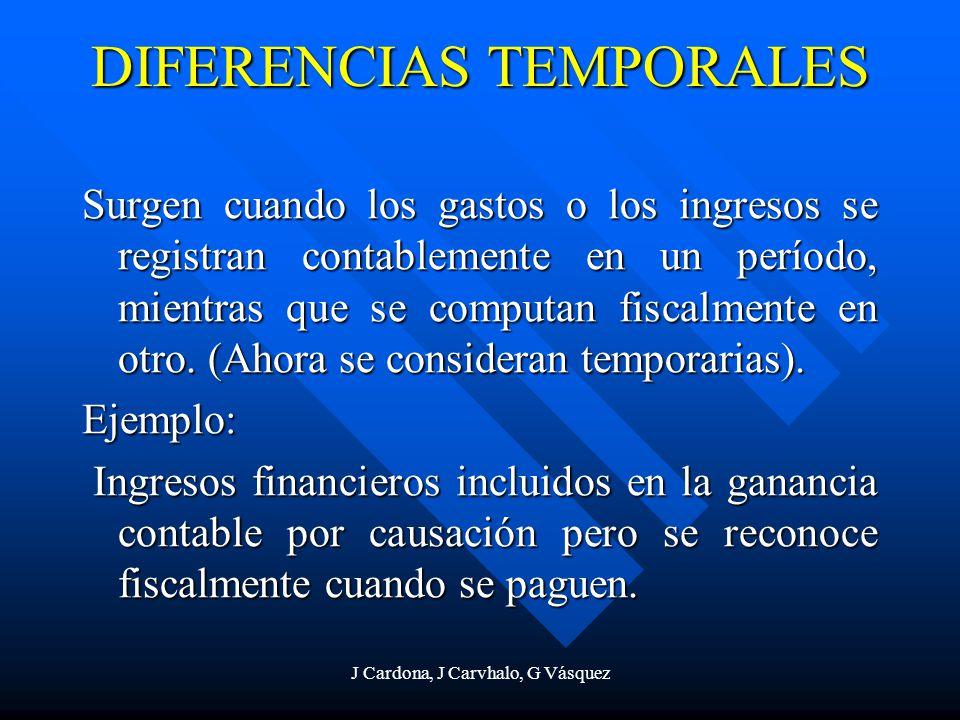 J Cardona, J Carvhalo, G Vásquez DIFERENCIAS TEMPORALES Surgen cuando los gastos o los ingresos se registran contablemente en un período, mientras que