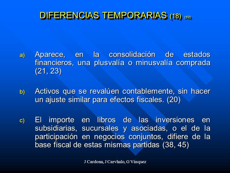 J Cardona, J Carvhalo, G Vásquez DIFERENCIAS TEMPORARIAS (18) (1/2) a) Aparece, en la consolidación de estados financieros, una plusvalía o minusvalía