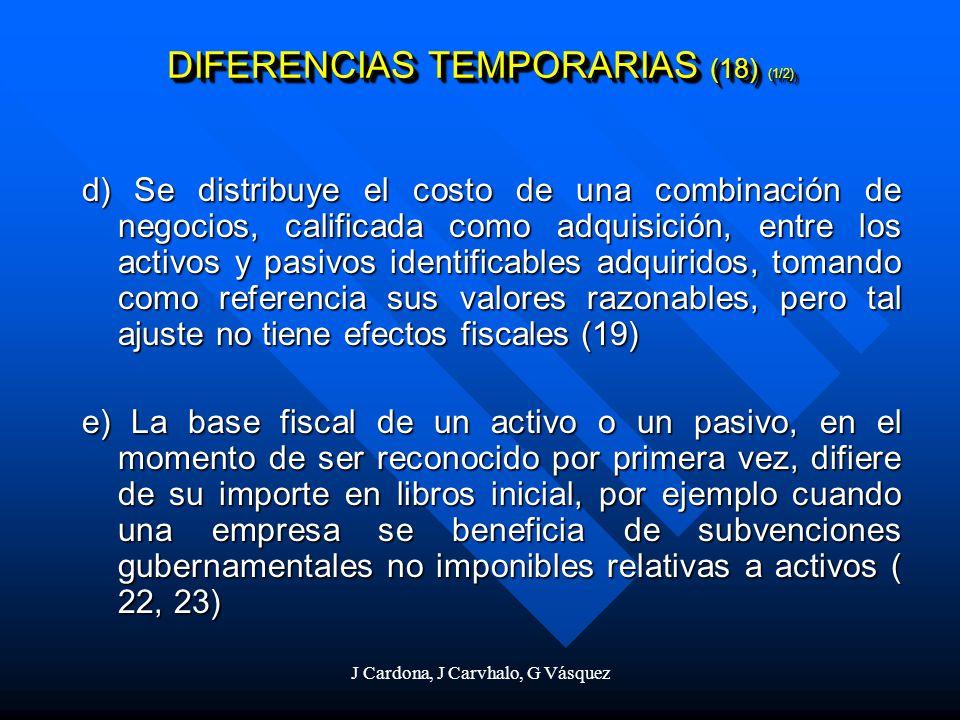 J Cardona, J Carvhalo, G Vásquez d) Se distribuye el costo de una combinación de negocios, calificada como adquisición, entre los activos y pasivos id