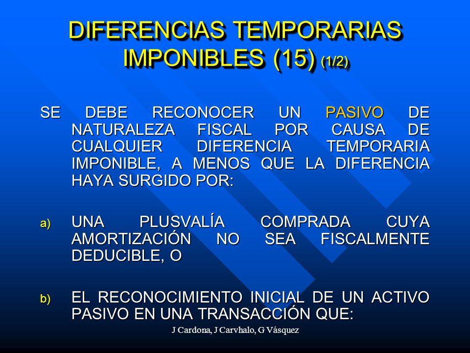 J Cardona, J Carvhalo, G Vásquez DIFERENCIAS TEMPORARIAS IMPONIBLES (15) (1/2) SE DEBE RECONOCER UN PASIVO DE NATURALEZA FISCAL POR CAUSA DE CUALQUIER