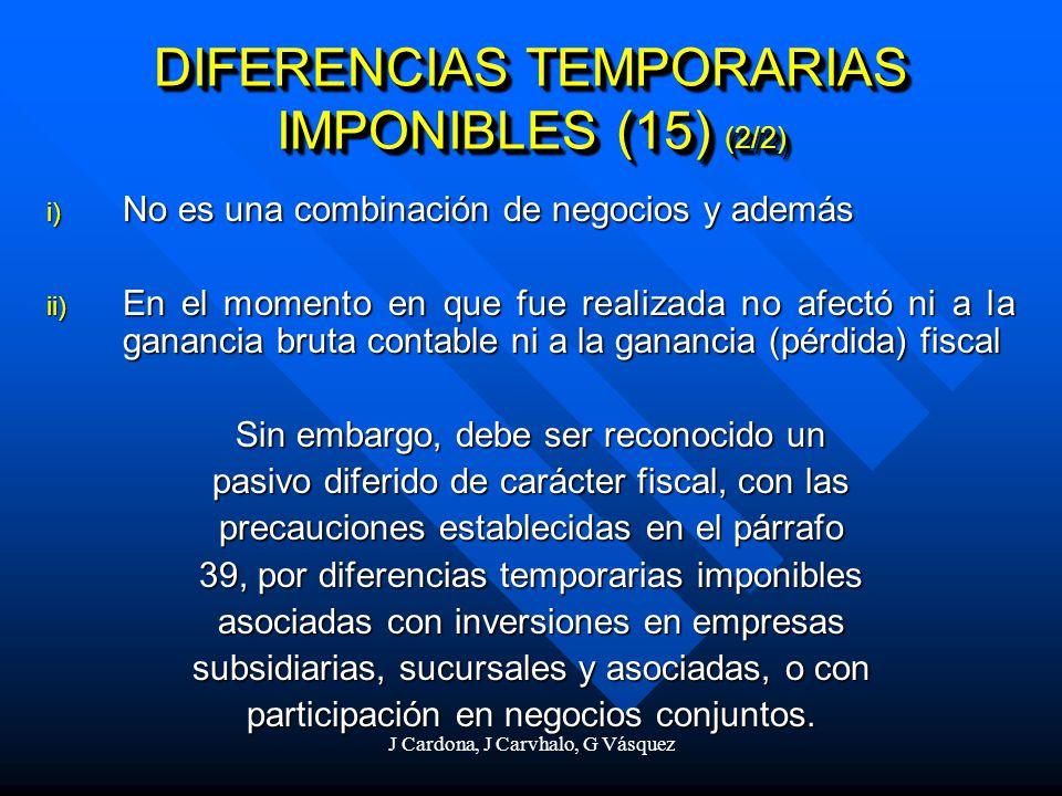 J Cardona, J Carvhalo, G Vásquez i) No es una combinación de negocios y además ii) En el momento en que fue realizada no afectó ni a la ganancia bruta