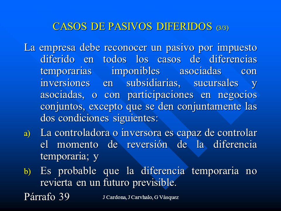 J Cardona, J Carvhalo, G Vásquez La empresa debe reconocer un pasivo por impuesto diferido en todos los casos de diferencias temporarias imponibles as
