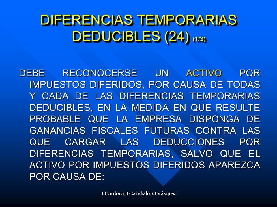 J Cardona, J Carvhalo, G Vásquez DEBE RECONOCERSE UN ACTIVO POR IMPUESTOS DIFERIDOS, POR CAUSA DE TODAS Y CADA DE LAS DIFERENCIAS TEMPORARIAS DEDUCIBL