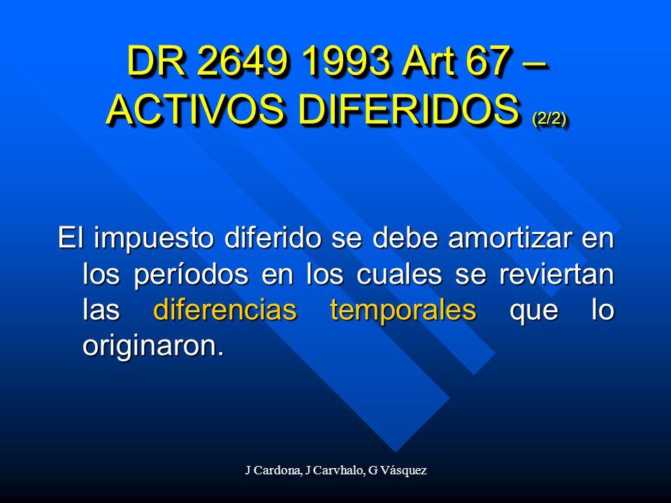 J Cardona, J Carvhalo, G Vásquez El impuesto diferido se debe amortizar en los períodos en los cuales se reviertan las diferencias temporales que lo o