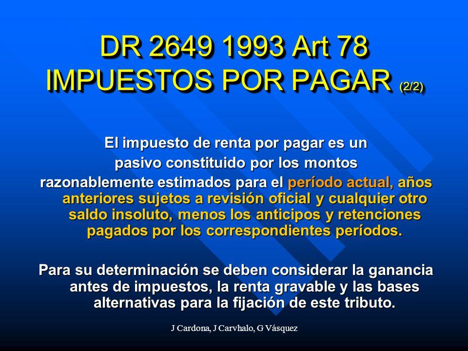 J Cardona, J Carvhalo, G Vásquez DR 2649 1993 Art 78 IMPUESTOS POR PAGAR (2/2) El impuesto de renta por pagar es un pasivo constituido por los montos