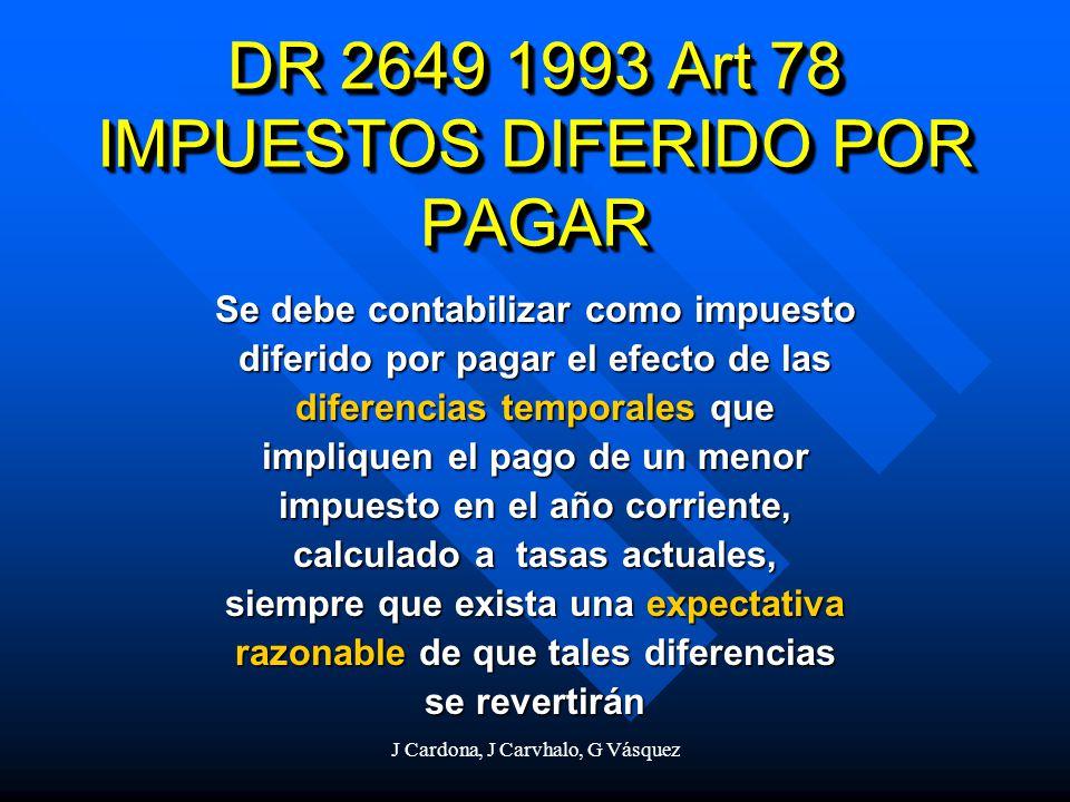 J Cardona, J Carvhalo, G Vásquez DR 2649 1993 Art 78 IMPUESTOS DIFERIDO POR PAGAR Se debe contabilizar como impuesto diferido por pagar el efecto de l